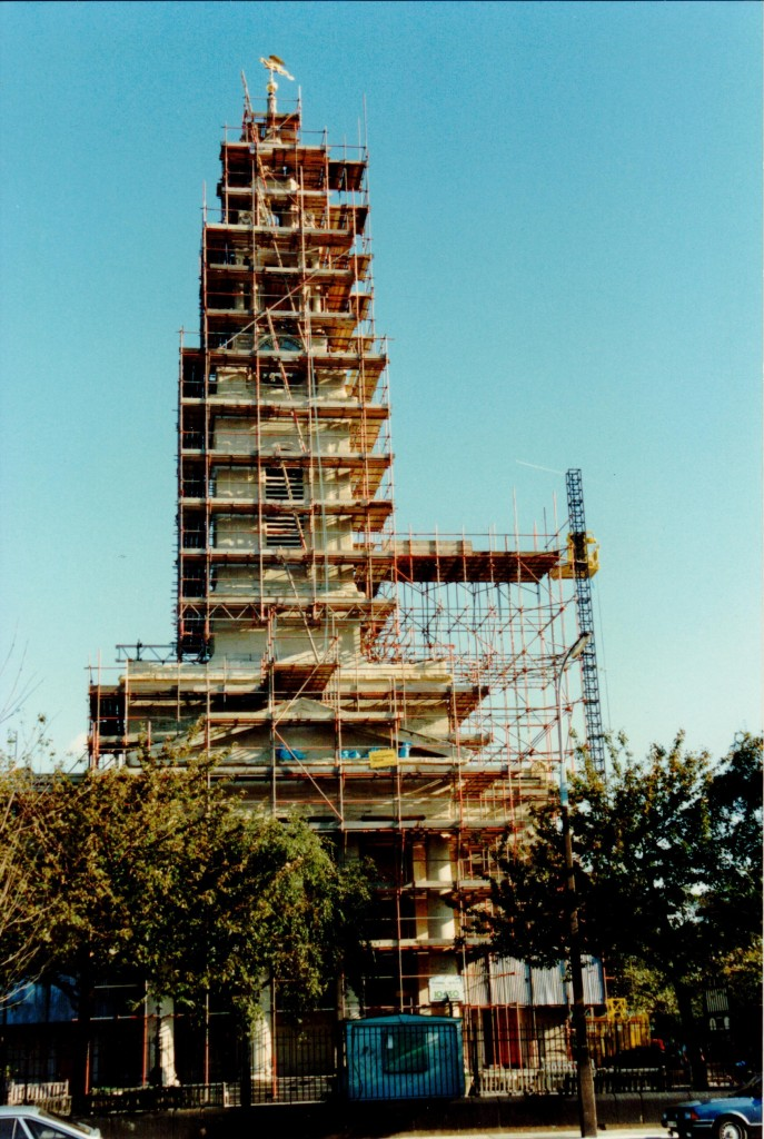 The tower in scaffold. The hoist was used to remove the old bells and frame and install the new frame